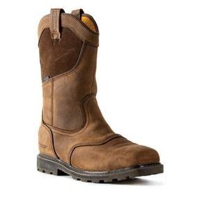 DEWALT Men's Stanton Waterproof Wellington Work Boots - Steel Toe - Bison Brown